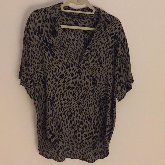 15fd95183e4e Zara green and black animal print blouse. M_5c3aaef5c617771237635cfe